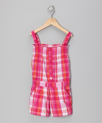 Pink Plaid Shirred Button-Up Romper - Girls