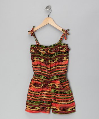 Orange & Black Aztec Stripe Romper - Girls