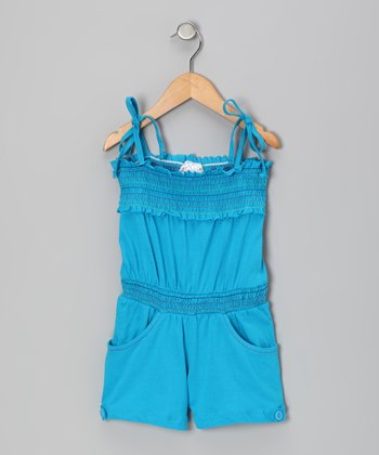 Blue Smocked Romper - Girls