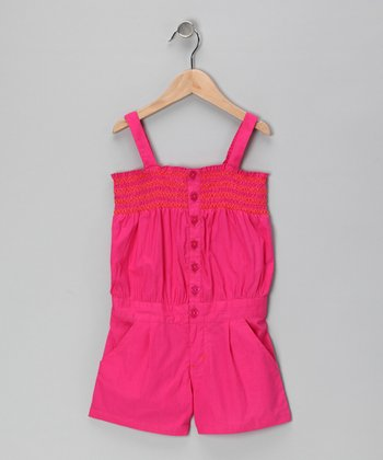 Pink Punk Button-Front Romper - Girls