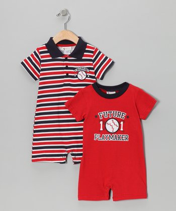 Red Stripe Romper Set - Infant
