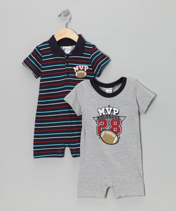 Blue & Gray Stripe Romper Set - Infant