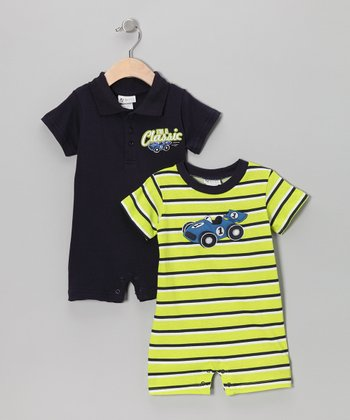 Black & Green Race Car Romper Set - Infant