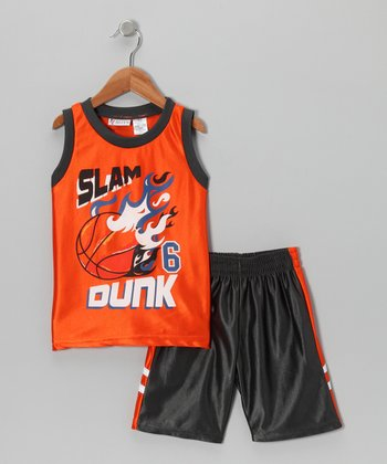 Orange 'Slam Dunk' Tank & Shorts - Toddler & Boys