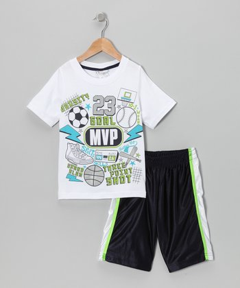 White 'MVP' Tee & Shorts - Toddler