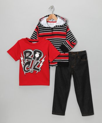 Red Stripe Zip-Up Hoodie Set - Infant, Toddler & Boys