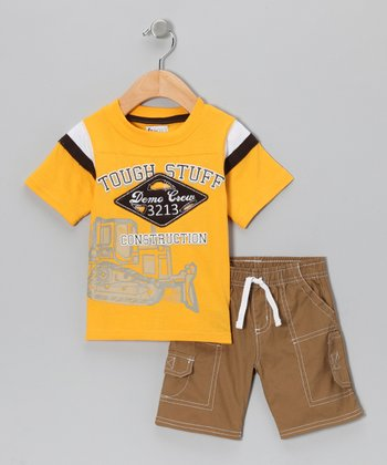 Yellow 'Tough Stuff' Tee & Shorts - Infant