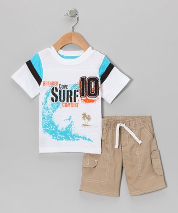 White 'Surf' Tee & Shorts - Infant