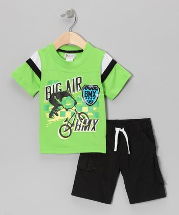 Green 'Big Air' Tee & Shorts - Infant