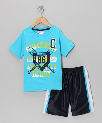 Light Blue 'Homerun' Tee & Shorts - Infant, Toddler & Boys
