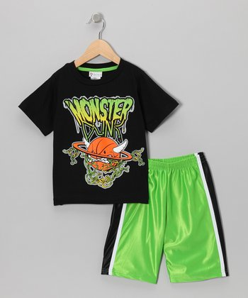 Black & Green 'Monster' Tee & Shorts - Boys