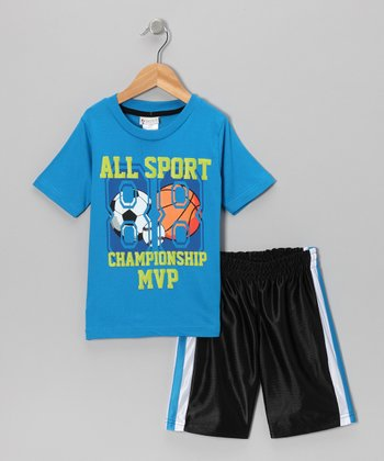 Blue 'All Sport' Tee & Shorts - Infant, Toddler & Boys