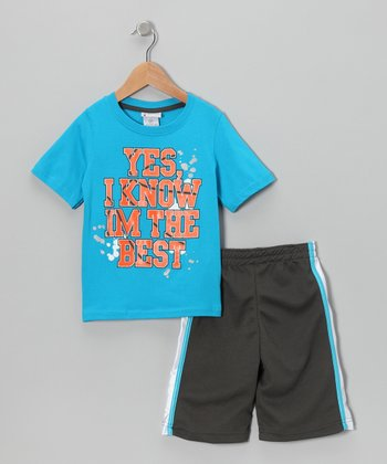 Aqua 'I Know I'm the Best' Tee & Shorts - Toddler