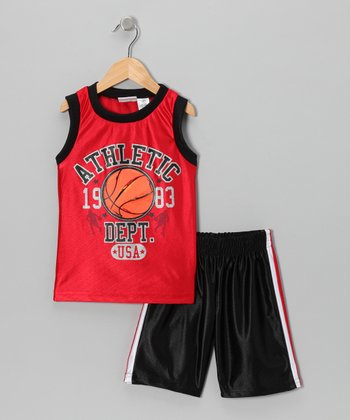 Red 'Athletic' Tank & Shorts - Toddler