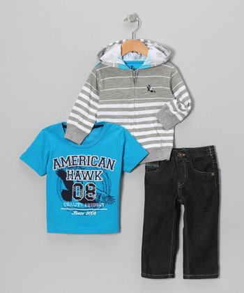 Gray Stripe Zip-Up Hoodie Set - Infant