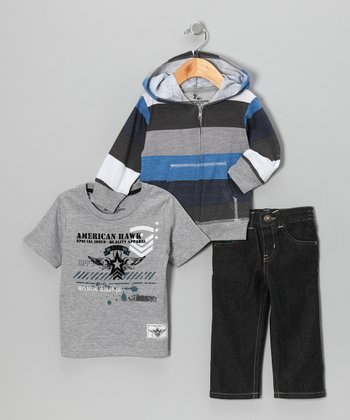 Charcoal Stripe Hoodie Set - Infant