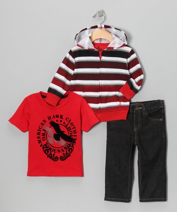 Red Stripe Hoodie Set - Infant