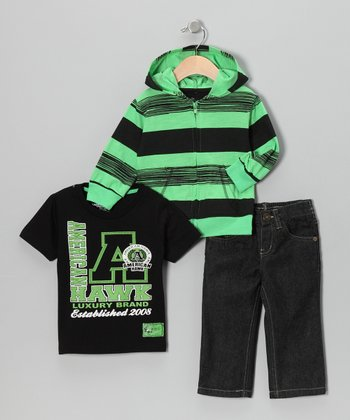 Green Stripe Hoodie Set - Infant