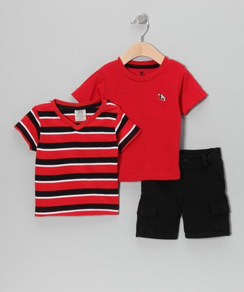 Red Stripe Tee Set - Infant