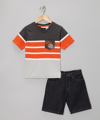 Orange & Black Stripe Tee & Shorts - Boys