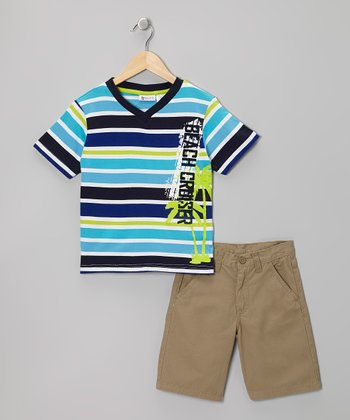 Aqua & Khaki Stripe Tee & Shorts - Boys
