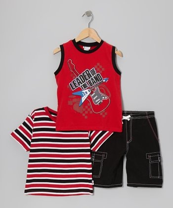 Red & Black Stripe Tee Set - Boys