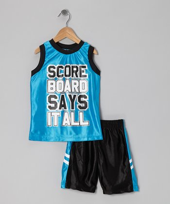 Turquoise 'Scoreboard Says It All' Tank & Shorts - Toddler