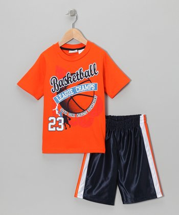 Orange 'Basketball' Tee & Shorts - Toddler