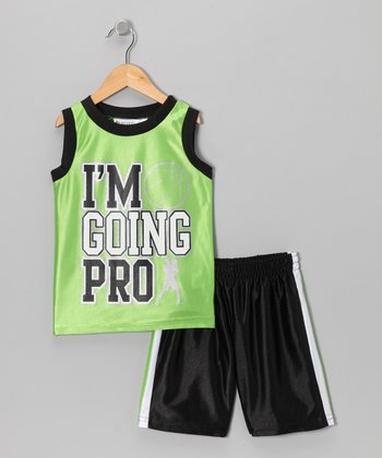 Lime 'I'm Going Pro' Tank & Shorts - Toddler