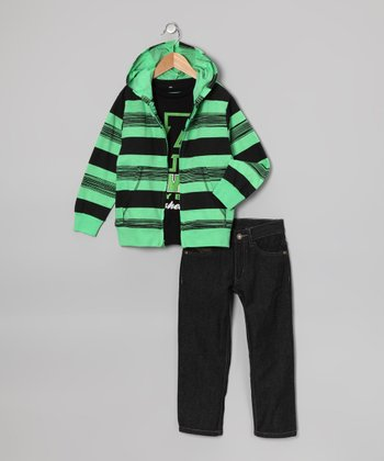 Green 'American Hawk' Hoodie Set - Toddler