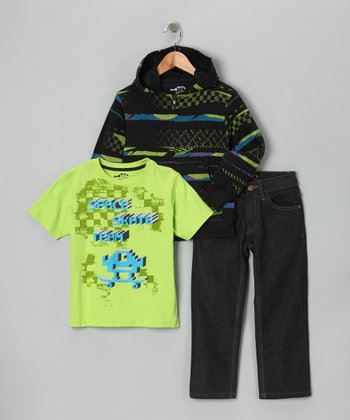 Green 'Space Skate' Zip-Up Hoodie Set - Boys