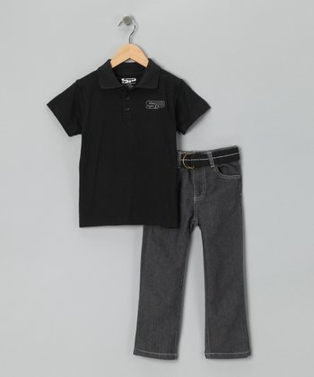 Black Polo & Jeans Set - Toddler