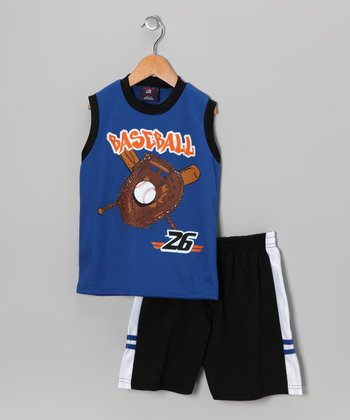 Blue 'Baseball' Tank & Shorts - Toddler