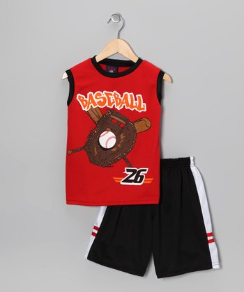 Red 'Baseball' Tank & Shorts - Toddler