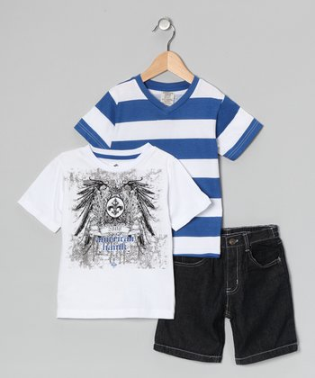 White 'American Hawk' Tee Set - Toddler