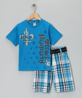 Blue Fleur-de-Lis Tee & Shorts - Toddler & Boys