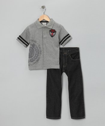 Gray 'American Hawk' Polo & Jeans - Infant, Toddler & Boys
