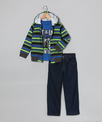 Blue 'Fast & Loud' Zip-Up Hoodie Set - Infant, Toddler & Boys