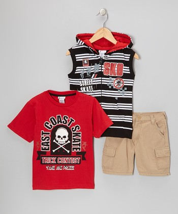 Red 'Street Skate' Vest Set - Boys