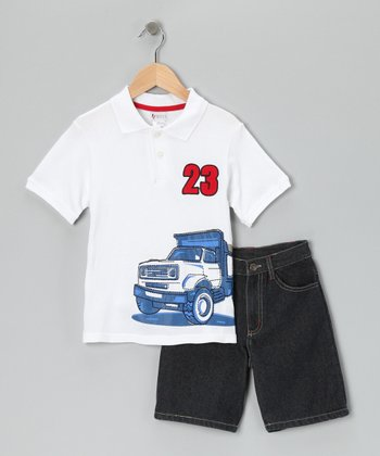 White '23' Polo & Shorts - Boys