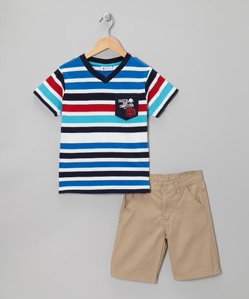 Blue & Black Stripe Tee & Shorts - Boys