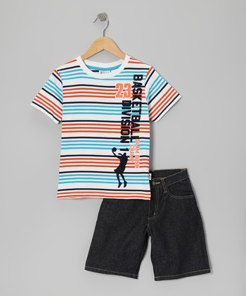 White Stripe 'Basketball' Tee & Shorts - Boys