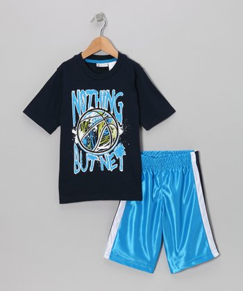 Navy 'Nothing But Net' Tee & Shorts - Boys