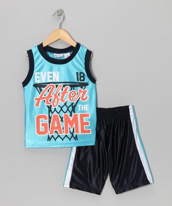 Light Blue 'After Game' Tank & Shorts - Toddler