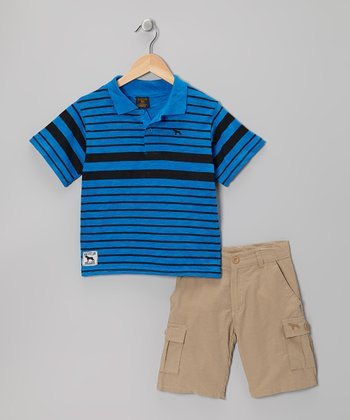 Royal & Khaki Stripe Polo & Cargo Shorts - Boys