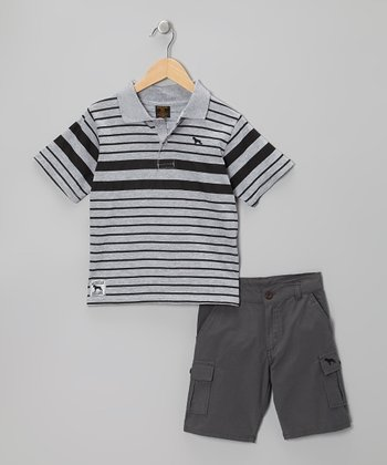 Heather Gray & Charcoal Stripe Polo & Cargo Shorts - Boys