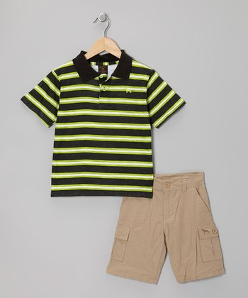 Lime & Khaki Stripe Polo & Cargo Shorts - Boys