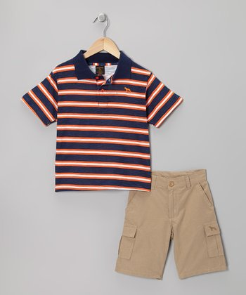 Orange & Khaki Stripe Polo & Cargo Shorts - Boys