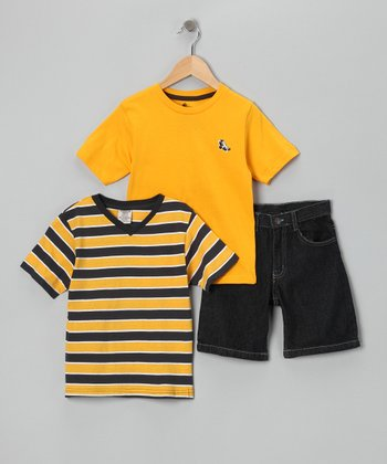 Yellow Stripe Tee Set - Boys