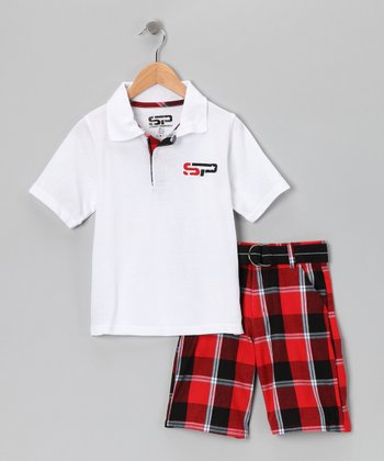 White & Red Polo & Shorts - Boys